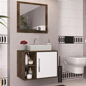 Conjunto de Banheiro Completo Balcão Painel e Cuba - Carvalho