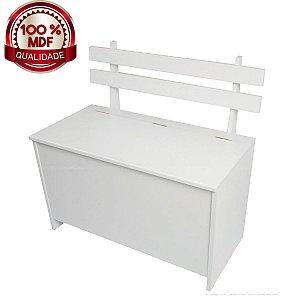 Banco/Caixa de Lenha com Baú CL 001 100% MDF - Branco