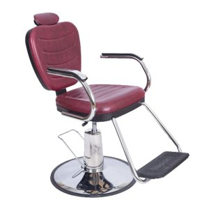 Poltrona Cadeira Barbeiro Vermelha Reclinável Hidráulica