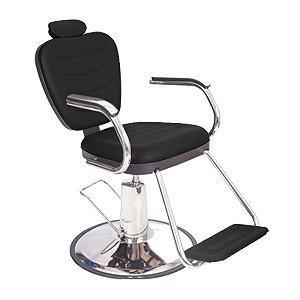 Poltrona Cadeira Barbeiro Preta Reclinável Hidráulica