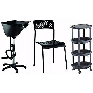 Salão Cabeleireiro Iniciante: Cadeira, Lavatório, Carrinho