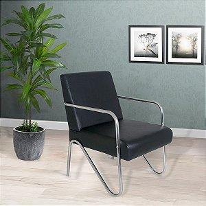 Poltrona Cadeira Decorativa Sirena - Corino Preto
