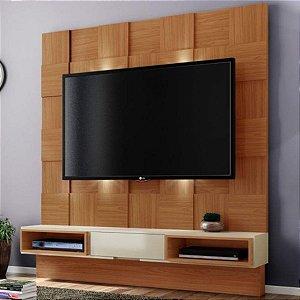 Painel para TV Tb125l Quadriculado 3d Com Led - Freijo/Off White
