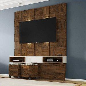 Painel para TV Tb125l Quadriculado 3d Com Led - Nobre/Off White