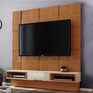 Painel para TV Tb125 Quadriculado 3d - Freijo/Off White