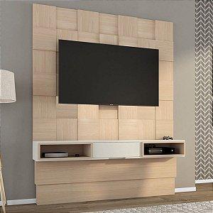 Painel para TV Tb125 Quadriculado 3d - Natural com Off White