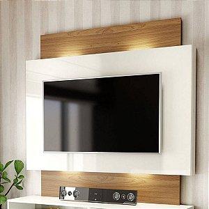 "Painel para TV até 55"" com Luzes LED TB131L - Off White/Freijó"