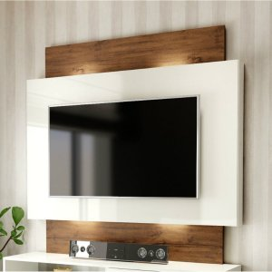 "Painel para TV até 55"" com Luzes LED TB131L - Off White/Nobre"