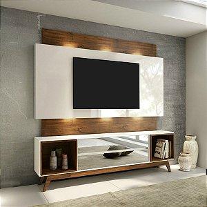 Rack Retrô com Painel de TV 2 Gavetas Espelhadas LED TB143L - Off White/Nobre