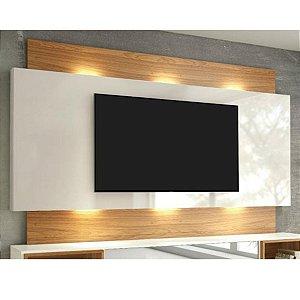 "Painel para TV até 65"" com LED TB133L - Off White/Freijó"