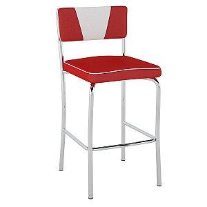Banqueta Média Retrô Pb18 Assento Vermelho Encosto Branco