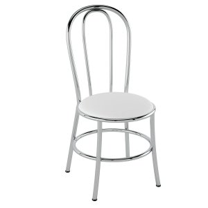 Cadeira de Aço PC01 Encosto tubular - Cromado/Branco