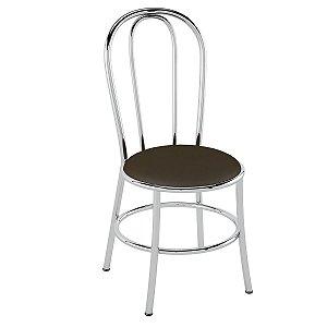 Cadeira de Aço PC01 Encosto tubular - Cromado/Cacau