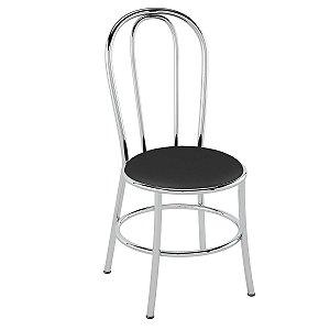 Cadeira de Aço PC01 Encosto tubular - Cromado/Preto