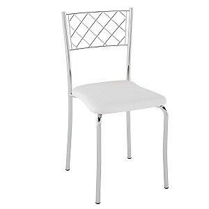 Cadeira Assento Estofado PC04 Pozza Cromado/Branco