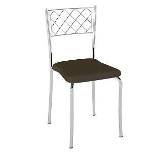 Cadeiras Assento Estofado PC04 Cromado/Cacau