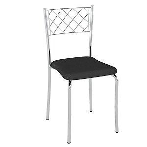 Cadeira Assento Estofado PC04 Pozza Cromado/Preto