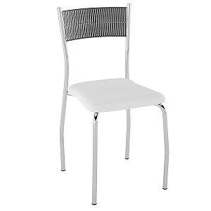 Cadeira de Aço PC06 Encosto Junco Preto - Cromado/Branco
