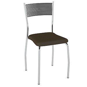 Cadeira de Aço PC06 Encosto Junco Preto - Cromado/Cacau