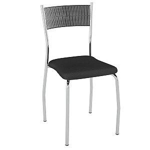 Cadeira de Aço PC06 Encosto Junco Preto - Cromado/Preto