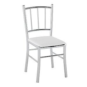 Cadeira de Aço PC12 Encosto Tubular Cromado/Branco
