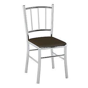 Cadeira de Aço PC12 Encosto Tubular Cromado/Cacau