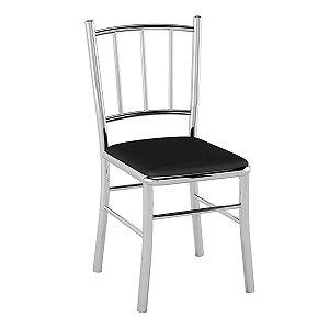 Cadeira de Aço PC12 Encosto Tubular Cromado/Preto