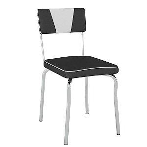 Cadeira Retrô Pc13 Encosto Estofado Assento Preto