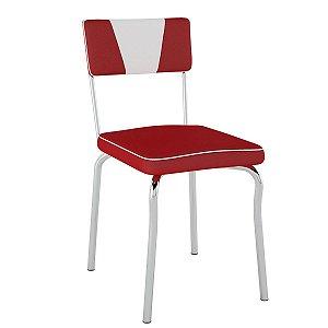 Cadeira Retrô Pc13 Encosto Estofado Assento Vermelho