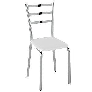 Cadeira  PC14 Encosto Chapa de aço - Vinil Branco/Cromado