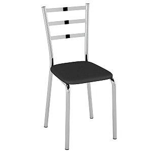 Cadeira  PC14 Encosto Chapa de aço - Vinil Preto/Cromado