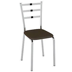 Cadeira  PC14 Encosto Chapa de aço - Vinil Cacau/Cromado