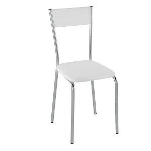 Cadeira  PC15 Encosto Estofado - Vinil Branco/Cromado