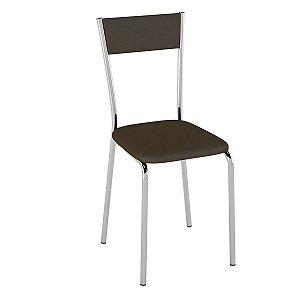 Cadeira  PC15 Encosto Estofado - Vinil Cacau/Cromado