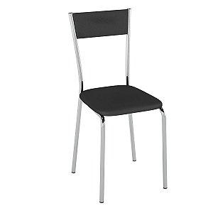 Cadeira  PC15 Encosto Estofado - Vinil Preto/Cromado