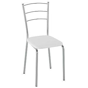 Cadeira PC16 Encosto Aramado - Vinil Branco/Cromado