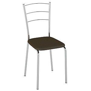 Cadeira PC16 Encosto Aramado - Vinil Cacau/Cromado
