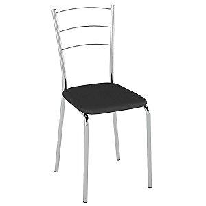 Cadeira PC16 Encosto Aramado - Vinil Preto/Cromado