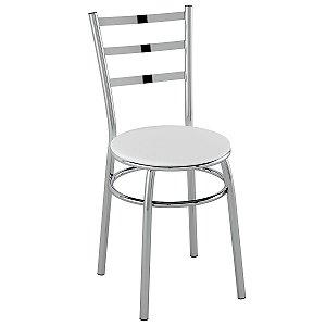 Cadeira PC17 Encosto Chapa de aço - Vinil Branco/Cromado