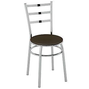 Cadeira PC17 Encosto Chapa de aço - Vinil Cacau/Cromado