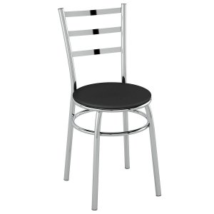 Cadeira PC17 Encosto Chapa de aço - Vinil Preto/Cromado