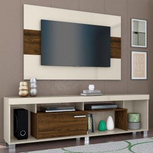 Painel Home Para TV Combo Tomaz MDP - Off White/Savana