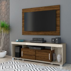 Painel Home Para TV Combo Pierre - Off White/Savana