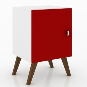 Criado Mudo com Nicho 1 Porta Rt3012 - Branco/Vermelho