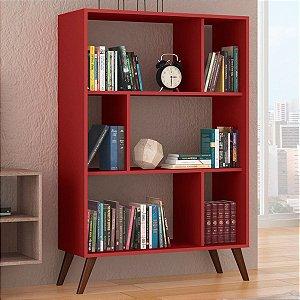 Estante para Livros com Nichos Retrô RT 3015 - Vermelho
