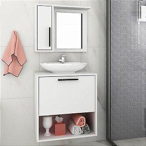 Conjunto para Banheiro Painel + Balcão BBN18 - Branco