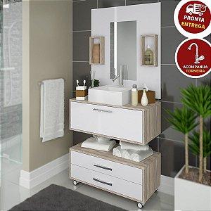 Conjunto Banheiro Completo Cuba Painel Balcão + Kit Hidráulico