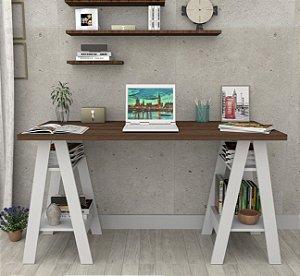 Mesa Escrivaninha Cavalete Self - Branco Castanho