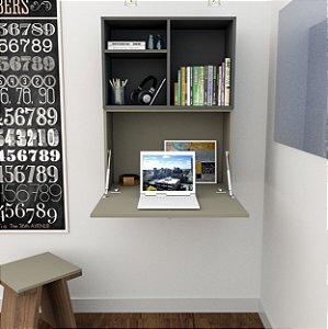 Escrivaninha Aérea Multiuso Com 1 Porta - Fumê/grafite