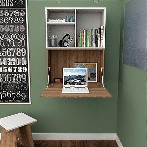 Escrivaninha Aérea Multiuso Com 1 Porta - Castanho/branco